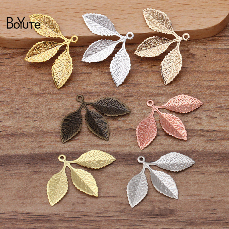 BoYuTe (50 Pieces/Lot) 31*23MM Metal Brass Stamping Leaf Charms For Jewelry Making Diy Hand Made Materials Wholesale