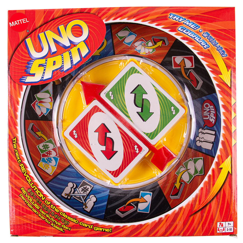 Mattel Games UNO SPIN family gathering board game spin licensing game. Contains two sets of uno cards game