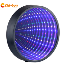 Chibuy LED Mirror Tunnel Light Round infinity tunnel lamp novelty Wall hanging sign light home decoration 3D