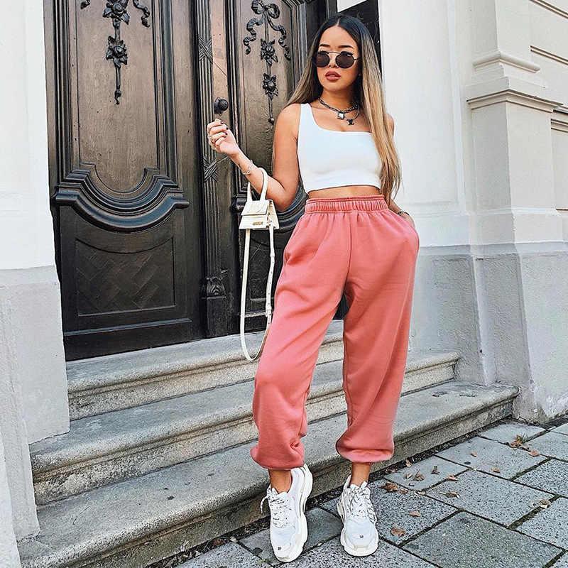 Osllenlla Pantalones Bombachos De Cintura Alta Para Mujer Pantalon De Chandal Color Rosa Caramelo Holgado Informal Pantalones Y Pantalones Capri Aliexpress