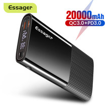 Essager – Batterie externe USB type C PD QC 3.0 pour Xiaomi, 20000 mAh, charge extérieure portable, chargeur accumulateur, bande, 20000 mAh,