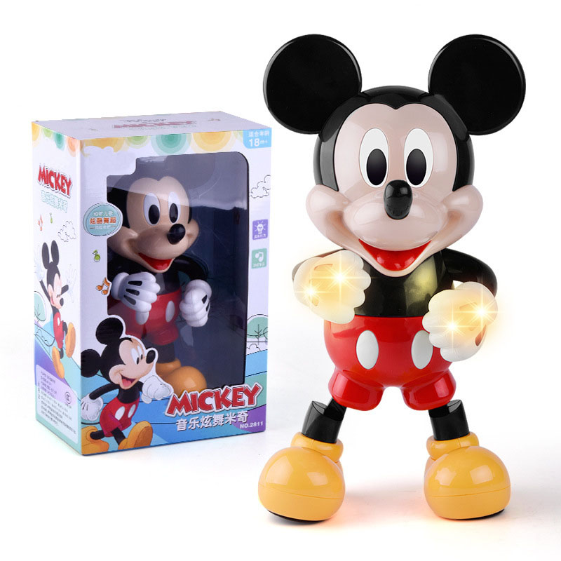 Mickey&Minnie Mouse Electric Music Dazzle Dance Toy Mickey Light Dancing Doll Puzzle Early Education Interactive Toy Kids Gift
