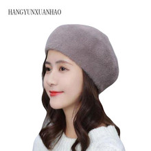 2019 New England Vintage Style Thickened Winter Beret Hats for Ladies Flat Hat Autumn and Berets Women