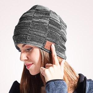 Image 3 - Moda música malha fone de ouvido chapéu chamada música escuta torção cheque mais veludo inverno quente fone de ouvido chapéu