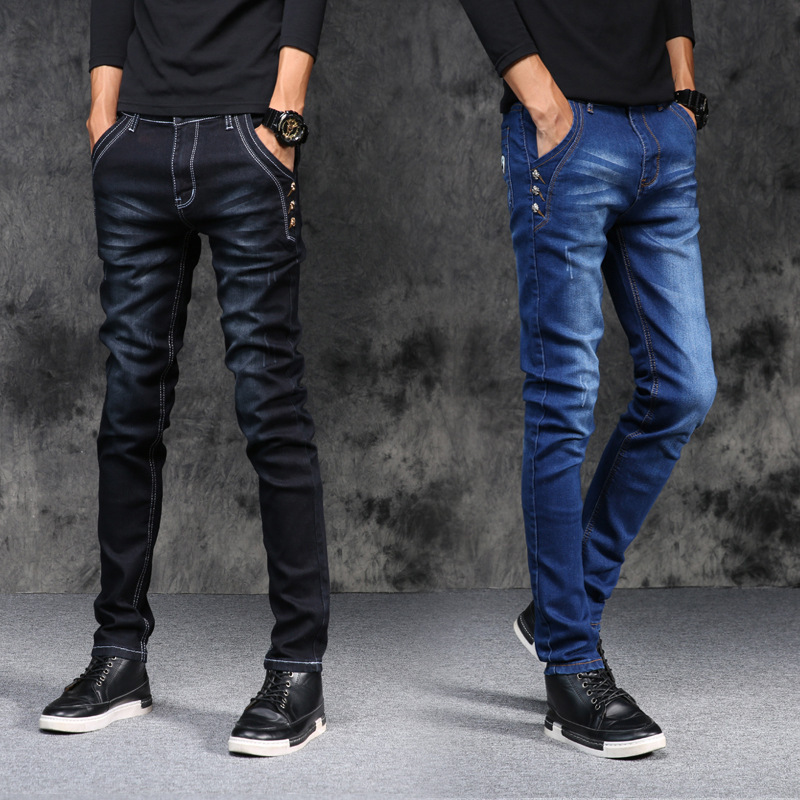 MEN'S Jeans Men's Spring And Summer Stretch Trousers Youth Casual Pants Slim Women's Straight-Cut Jeans Men's Skinny Pants