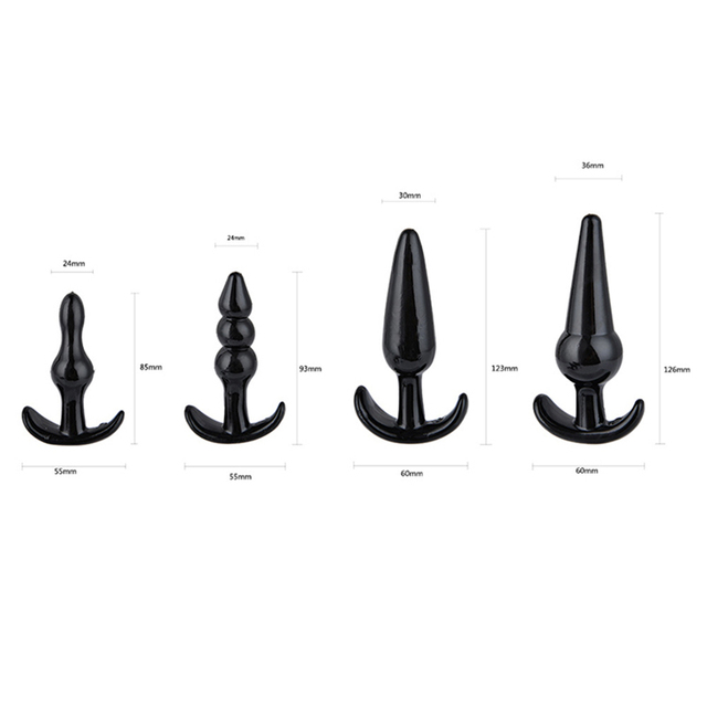 4Pcs Silicone Anal Plug Butt Plug Jewelry Dildo Unisex Sex Stopper Prostate Adult Toys for Men/Women Bullet Trainer Couples
