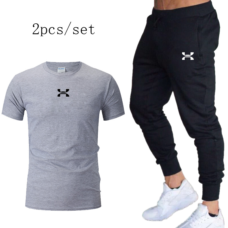 Men's Running Sets Quick-drying Breathable T-short+Loose Stretch Sweatpants Autumn Jogging Fitness Training New Casual Suits
