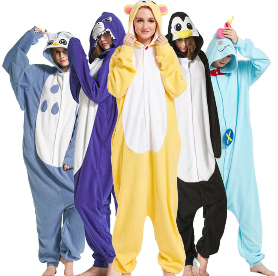 2019 winter warm unisex adult kigurumi pajamas unicorn hooded animal cartoon flannel sleepwear home party owl costume