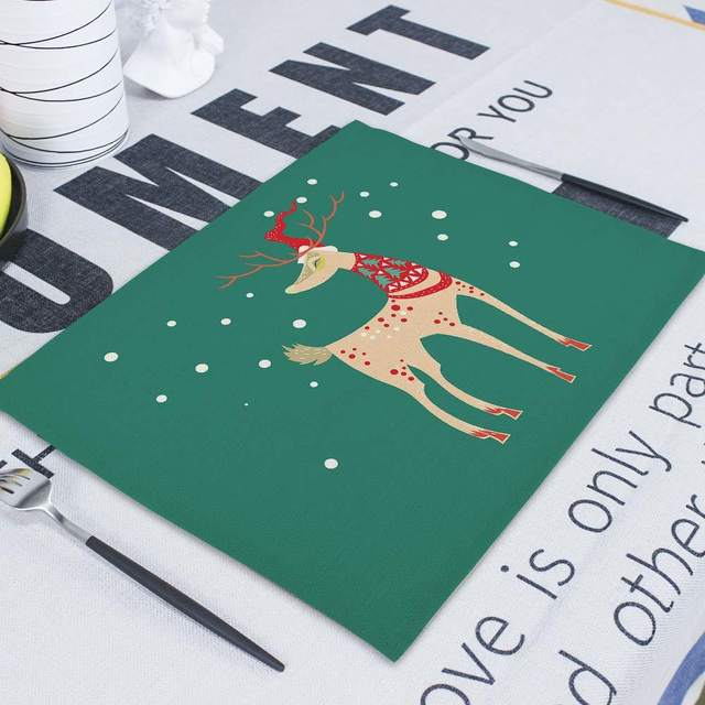 Merry Christmas Flower Deer New Year's  Table Napkin Desk Christmas Tree Decorations Santa Navidad Decoraciones Para El Hogar 41