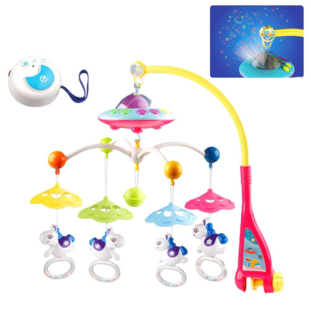 Toy for Newborn Sleep Musical Baby Crib Mobile Toy with Lights and Music Star Projector Function and Cartoon Rattles Remote Control Musical Box with 108 Melodies