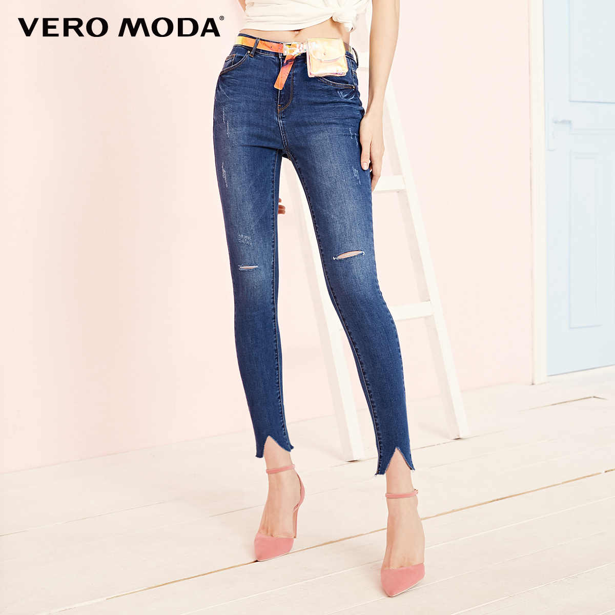 Vero Moda Women's Slim Fit Stretch Lycra Distressed cuffs Jeans | 319149550