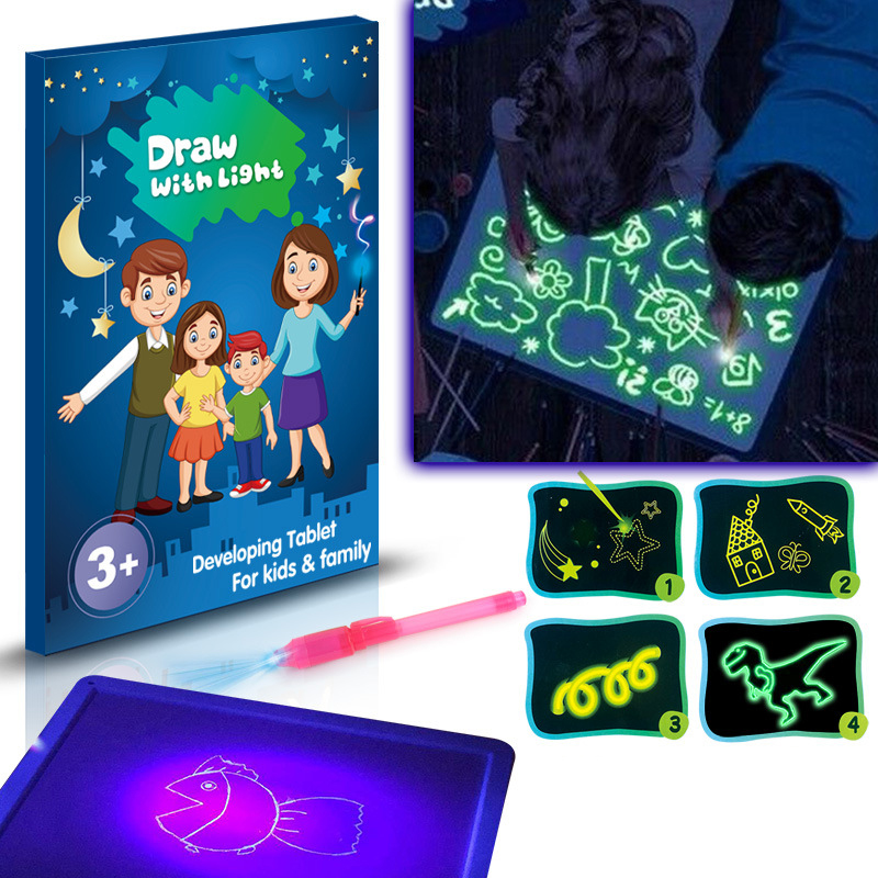 A3 A4 A5 Draw With Night Light In Dark Children Funny Toys Writing Magic Drawing Board Set Educational English Russian Language