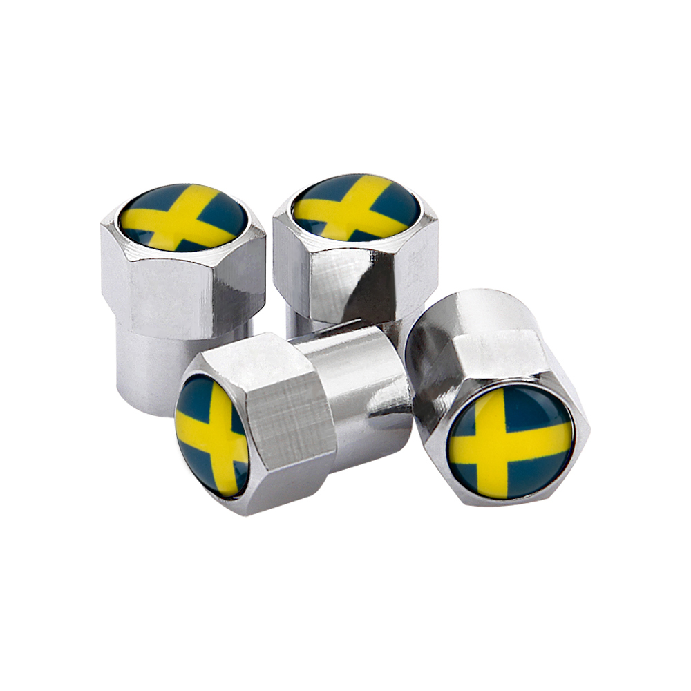 4PCS Wheel Tire Valve Stem Caps For Sweden Flag Logo Volvo V40 V50 V60 V70 S40 S60 S60L S70 S80 S90 XC40 XC60 XC70 XC80 XC90