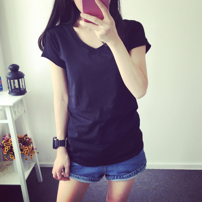 2018 new summer wear new style woman loose fitting T-shirt short white T-shirt girl