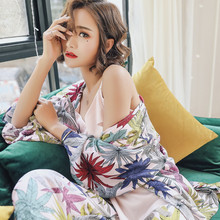 Maple Leave Spring Autumn Women's Pajama Set 3 Piece Sleep Set Daily Sleepwear Indoor Clothe Cotton V-neck Vintage Home Clothing цена