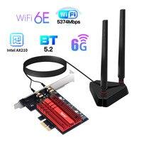 Adaptador de red Wifi inalámbrico, tarjeta WiFi de doble banda, PCIe, 2,4G/5G/6Ghz, 2400M, para Bluetooth 5,2, PCI Express Wlan, Intel AX210, Wi-Fi 6E