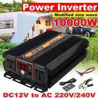 10000 Вт двойной USB Инвертор + ЖК дисплей 12 В 220 В модифицированный синусоидальный преобразователь напряжения солнечной энергии автомобильное ...