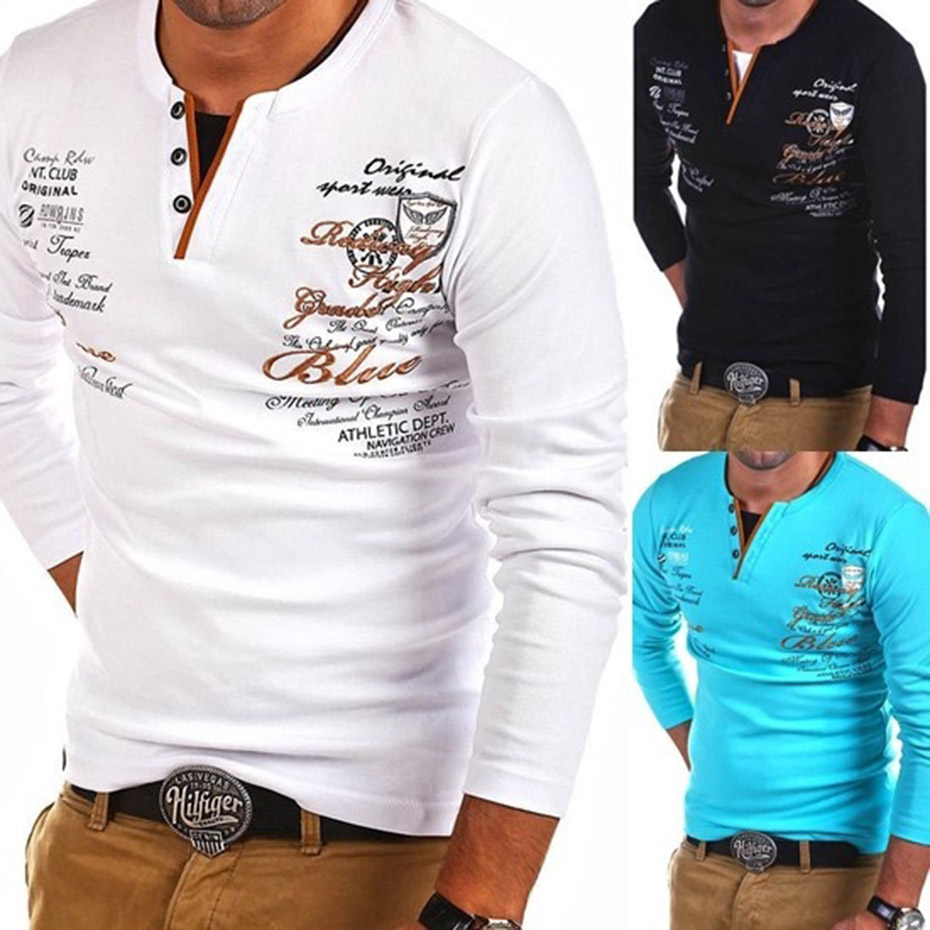 ZOGAA 2019 Men's   Polo   Shirt Male Cotton Long Sleeve Tops Casual Printed V-neck   Polo   Shirt Male Personality Cultivating Shirts