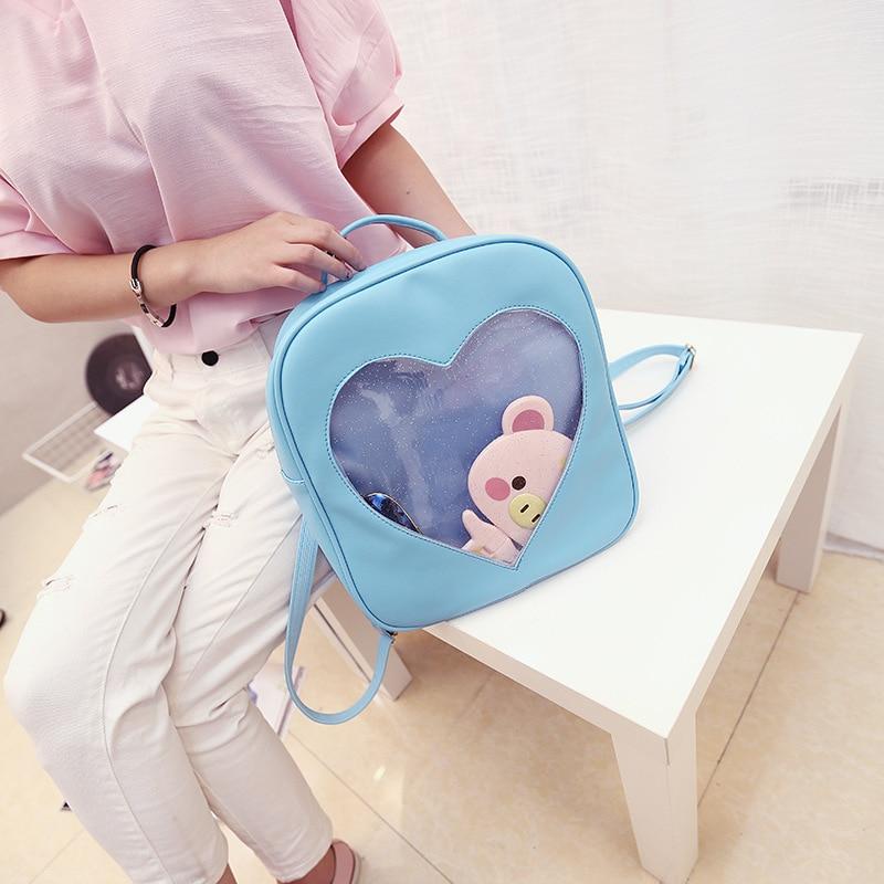 Candy Color PU Leather Ita Bag DIY Transparent Love Heart Shape Backpack Kawaii Harajuku Schoolbags For Teenage Girls