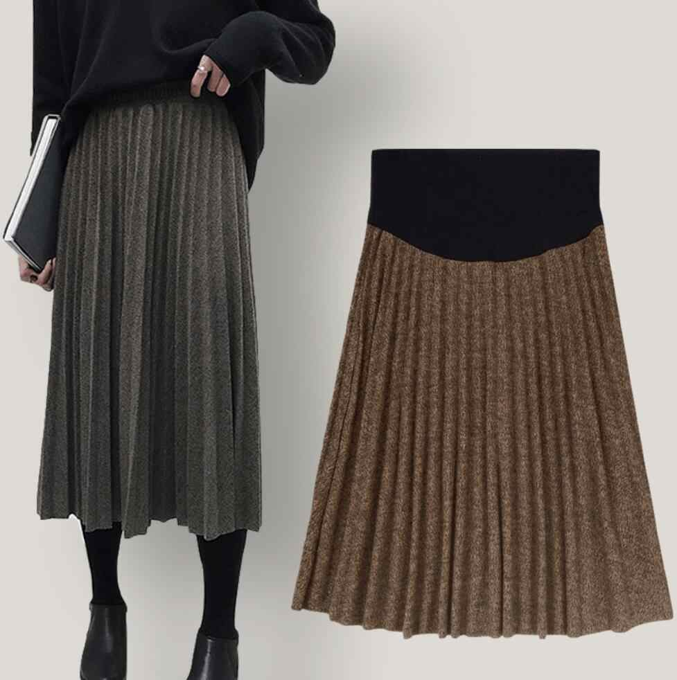 Fashion wool cloth Maternity Pleated Skirts Autumn Winter pregnant woman Hot Elastic Waist Belly long Skirts for Pregnant Women Pregnancy clothing