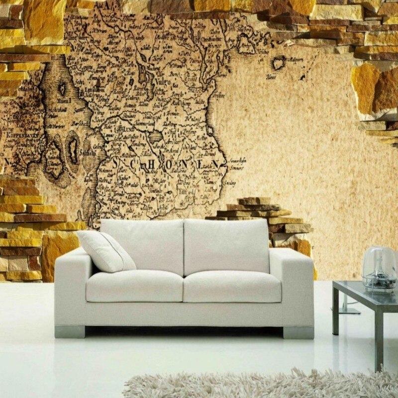 Dropshipping niestandardowa tapeta z motywem cegły europejska mapa papier na Vintage kamienna ściana złota tapeta Foto Fototapeta Fototapeta nowocasna