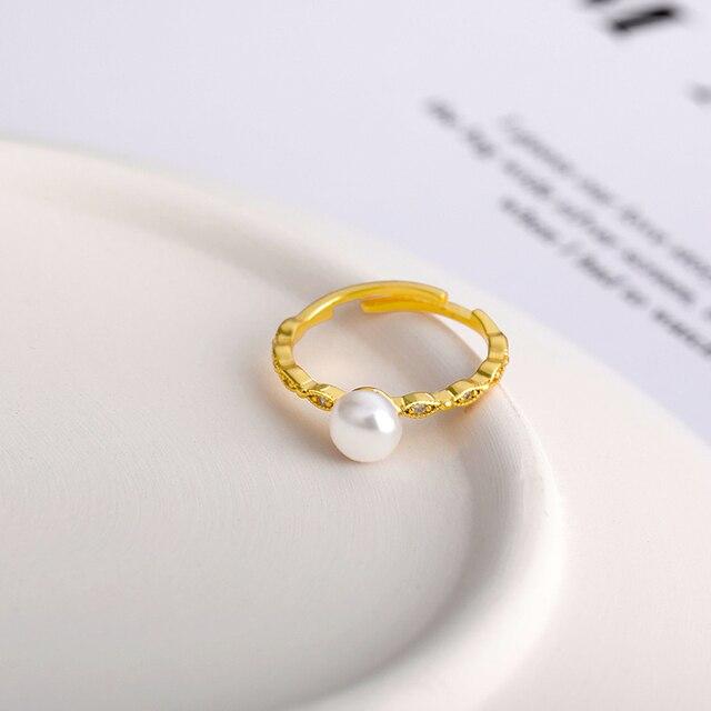 Фото модные регулируемые кольца с жемчугом для женщин шикарное кольцо цена