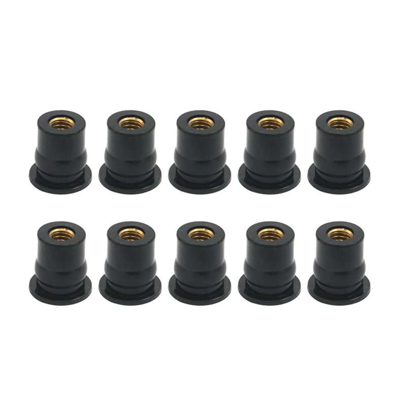 6pcs M6 Fairing Rubber Well Nuts Mounting Accessories for Kayak Motorcycle