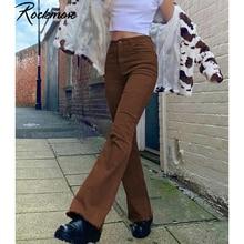 Rockmore Brown Denim Pants High Waist Pockets Cargo Pants Skinny Flare Ripped Jeans Y2K Women 90S Streetwear Trousers Autumn