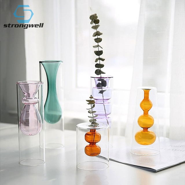 Strongwell Nordic Double-layer Stained Glass Vase Hydroponic Flower Vase Home Decoration Home Desktop Decoration Ornaments 1