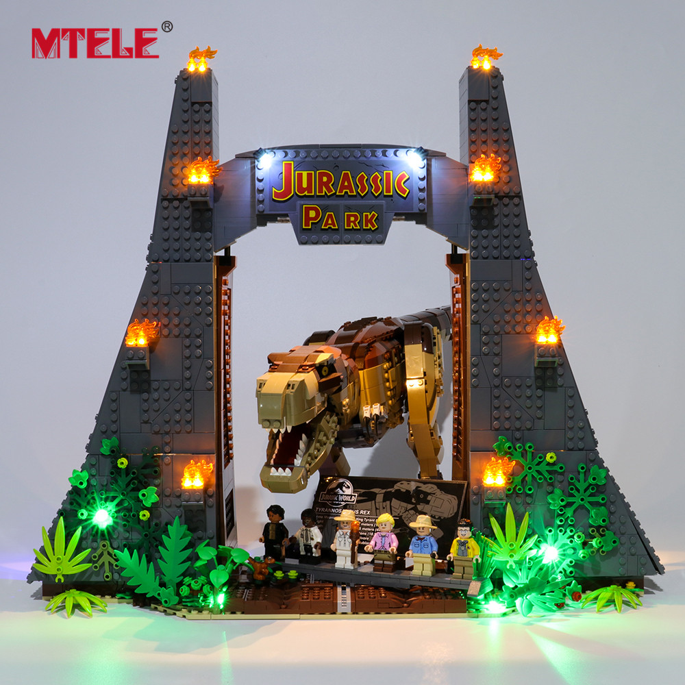 MTELE Brand LED Light Up Kit For Jurassic Park: T. Rex Rampage Toy Building Blocks Lighting Set Compatile With 75936