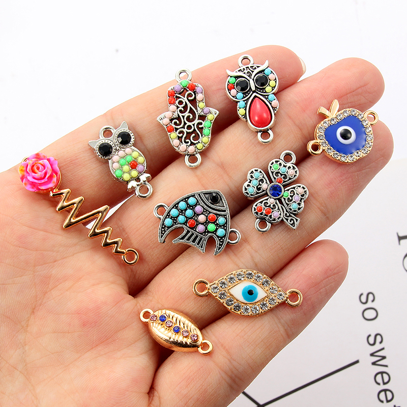 10 Pcs Charm Connector Animal Pendant DIY Bracelet Necklace Metal Jewelry Making Accessories