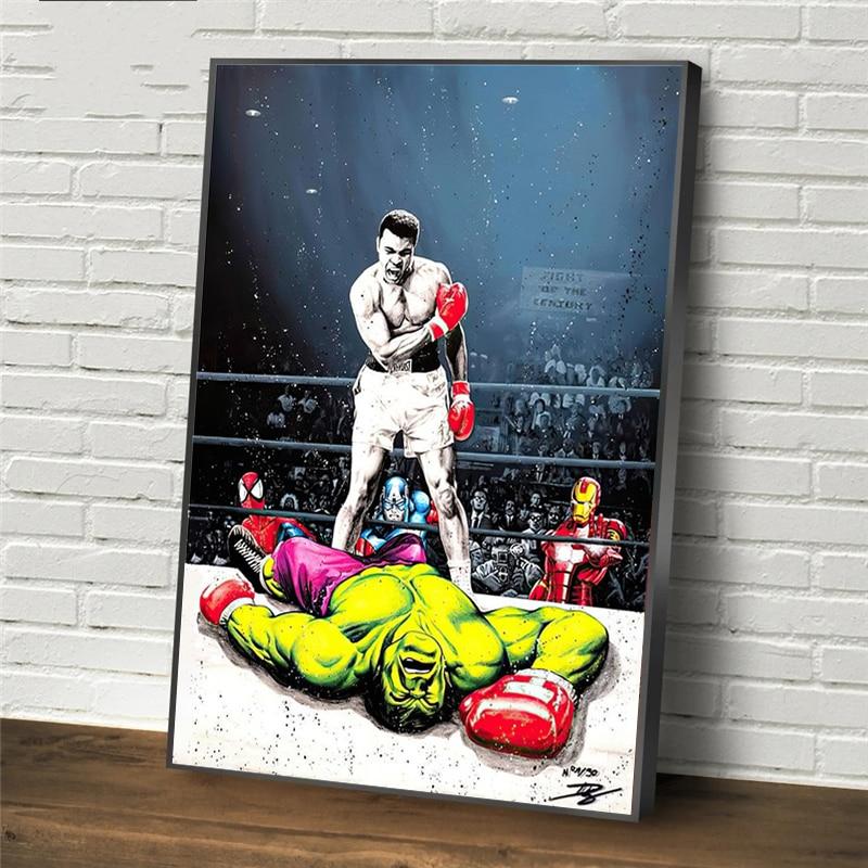 Art Graffiti moderne Muhammad Ali VS Hulk peintures sur toile sur le mur Art boxe photos affiches et impressions pour la maison Cuadros