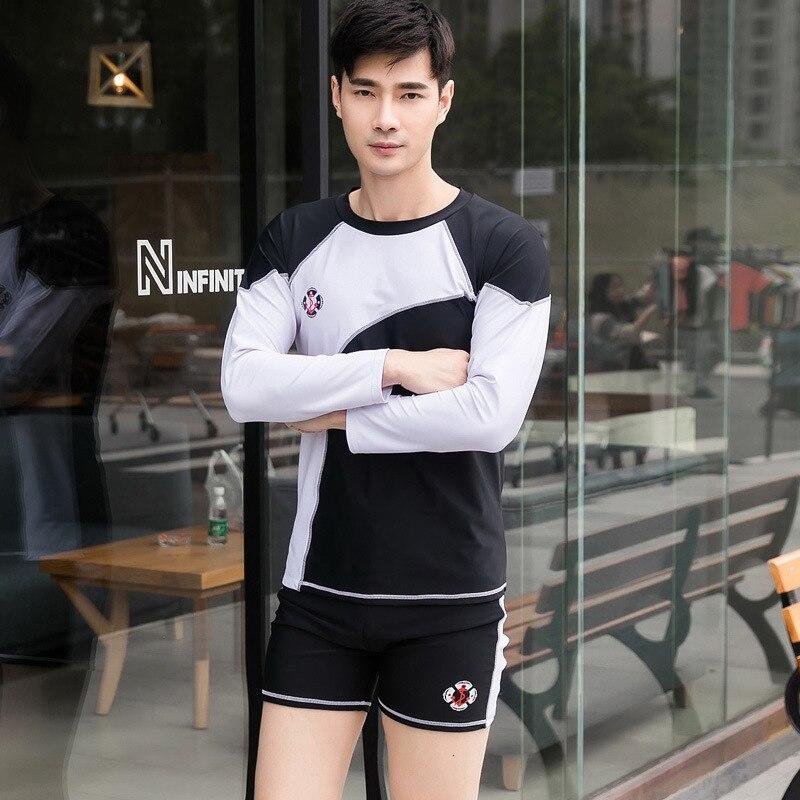MEN'S Swimsuit Split Type Swimming Beach Set Long-sleeved Swimsuit Men's Sun-resistant AussieBum Korean-style Hot Springs Swimwe
