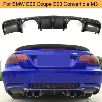 Carbon Fiber Add On Car Rear Bumper Lip Spoiler Diffuser for BMW E92 Coupe E93 Convertible M3 2008 - 2013 Non 4 Door Black FRP image