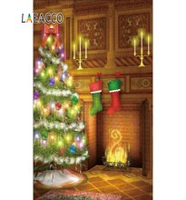 Laeacco Photography Backdrops Christmas Tree Fireplace Stock Candle Carpet Interior Photo Backgrounds Photocall Studio