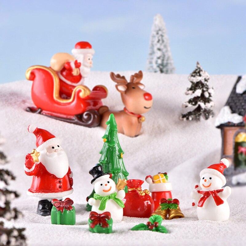Christmas Decoration 2021 Santa Snowman Micro Landscape Ornaments Festival Socks Bell Resin Home Decor Figurines for Living Room