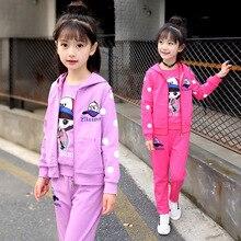 autumn winter girls kids tracksuit sportswear zip up hoodie sweatshirt+jacket+sweatpant casual jogger running workout outfit set