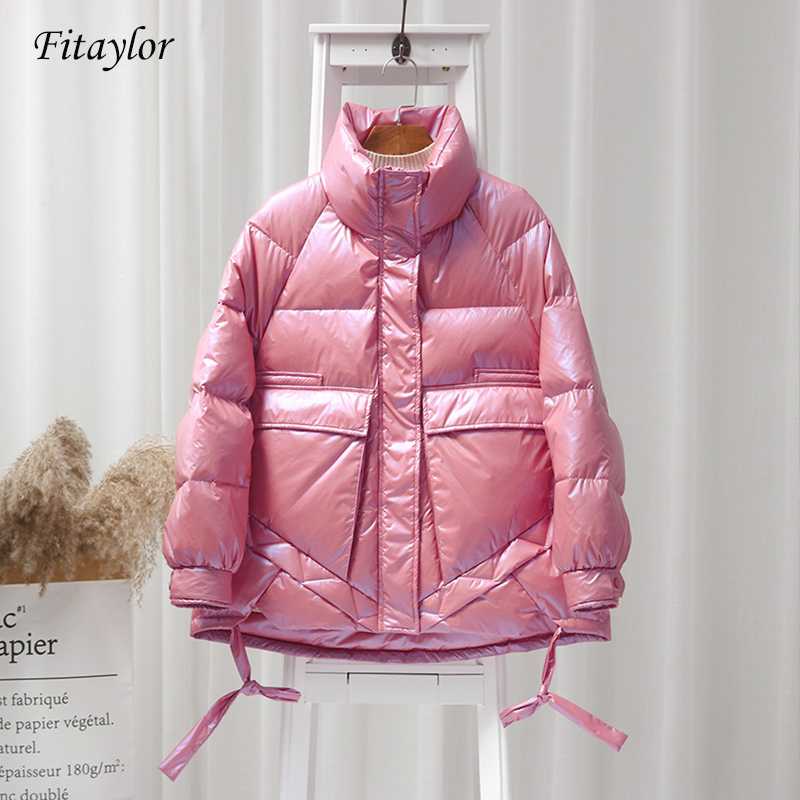 Fitaylor Winter Bright Side White Duck Down Jacket Women Stand Collar Candy Colors Parkas Female Warm Snow Down Outerwear