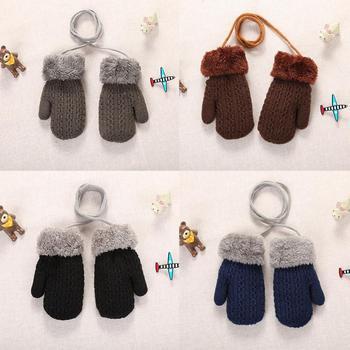 Pełne mitenki ciepłe rękawiczki zimowe śliczne pluszowe ciepłe rękawiczki z liny Boys Baby dziewczyny rękawiczki z dzianiny zimowe rękawiczki zimowe 1-4Y tanie i dobre opinie CN (pochodzenie) COTTON CASHMERE Patchwork Unisex Baby Gloves 14*7 cm Support