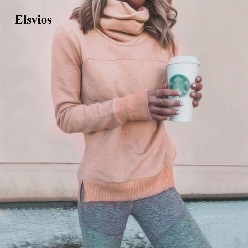 Elsvios Autumn Women Long Sleeve Hoodies Winter Warm Fleece Sweatshirt Hoodies Casual Solid Turtleneck Pullover Tops Sweat Femme