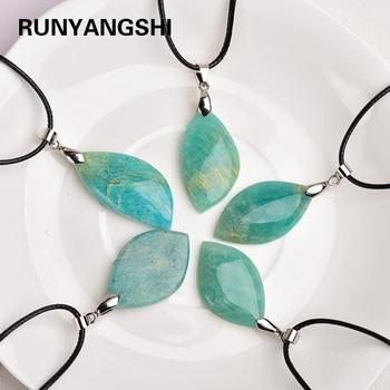 цена на Random shape Necklaces Natural Stone Amazonite Pendant Leaf shape Quartz Beads for Women Men Jewelry