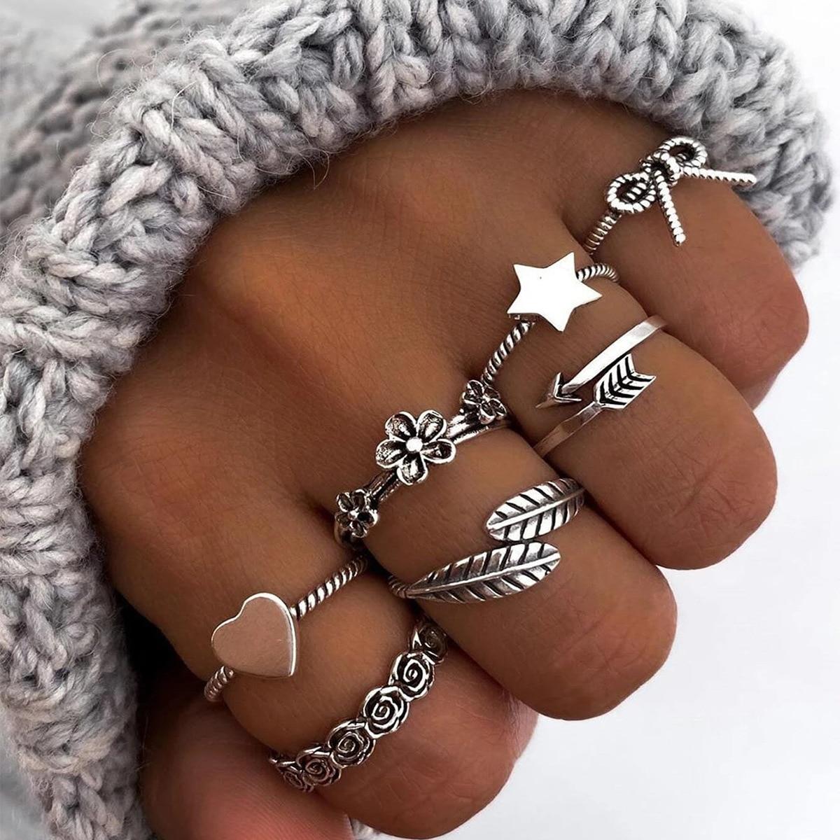 Кольца для женщин, модные ювелирные изделия, набор колец на палец, серьги для девочек, кольца, эстетические аксессуары, День святого Валенти...