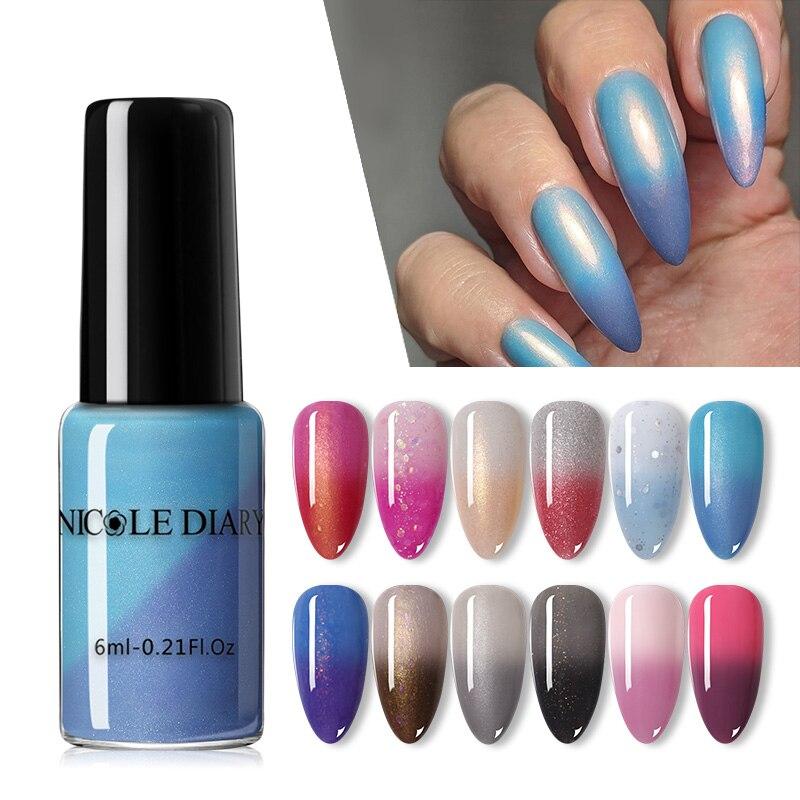 NICOLE DIARY температурный меняющий цвет лак для ногтей Отшелушивающий термальный Блестящий лак для ногтей блестки лак для дизайна ногтей украш...