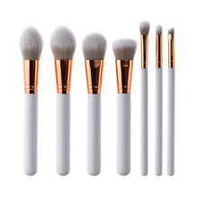 7PCS Makeup Brush Suit Multipurpose Make up Toiletry Tool Set Make Up Brushes Suits With Cosmetic Bag (White Handle Gold Tube) 7pcs makeup brushes set with striped bag