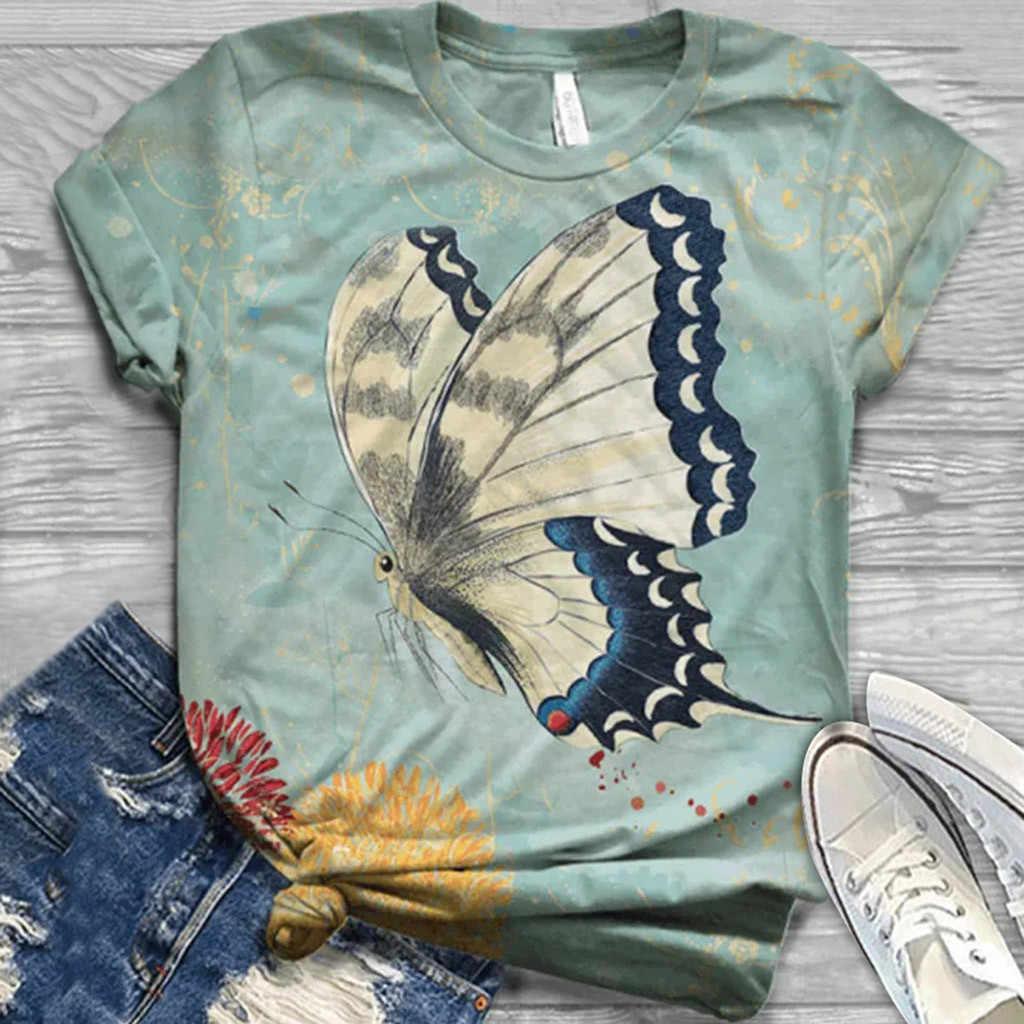 T shirt Frauen Harajuku Tops Plus Größe Frauen Kurzarm Schmetterling Druck Oansatz T-Shirt Camisetas Mujer T-shirt Frauen футболка