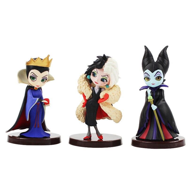 Disney 3 pièces Q posket Petit vilains ensemble Descendants 2 maléfique Cruella de Vil reine Action figurine modèle cadeau jouets pour les enfants