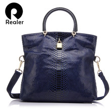 REALER Genuine Leather Bags for women Snake Pattern Tote Bag Top Quality Leather Handbags Evening Clutch Female Shoulder Bag(China)