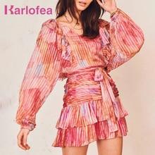 Karlofea Ladies Elegant Chic Summer Long Sleeve Dress Lovely Ruffles Vacation Ou