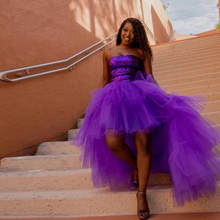 Fashion High Low Tulle Skirt Purple Puffy Hi Low Tutu Party
