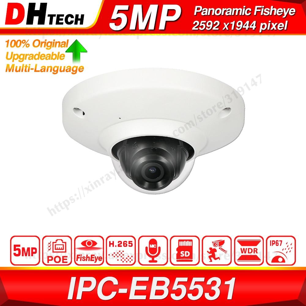 Dahua Original IPC-EB5531 5MP Panoramic Fisheye POE Built-in Mic SD Card Slot H.265 Smart Detect Onvif IP67 IK08 CCTV IP Camera